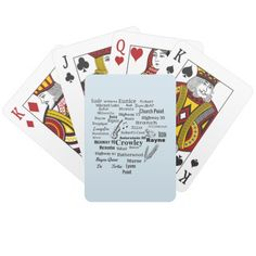 Acadia Parish Cities and Places Playing Cards This Louisiana themed deck of cards is perfect for any Acadia Parish resident. Names of cities and roadways form the shape of Acadia Parish. Practically anywhere in the parish you can go! Background color is easily customizable. This design is available on several other products.