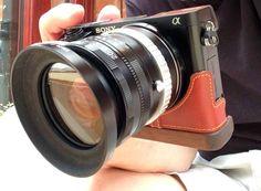 Sony a6000 - extra 'gripability.' Prostraps Leather Case, JB Wooden Base.