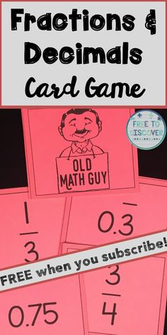 Receive this FREE Fractions & Decimals card game via email when you subscribe to the Free to Discover blog.  Free to Discover is a blog that focuses on ideas and inspiration for teaching middle school mathematics using engaging and interactive methods.  You will receive ideas for teaching math topics, free resources, and notifications of special promotions.  Click to sign-up today!