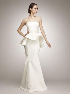 The Aisle New York Ivory Peplum Gown From Isaac Mizrahi Custom Salon