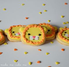 Lion Cookies from a Teddy Bear Cutter - Sweet for birthdays, baby showers, or even Valentine's | Make Me Cake Me