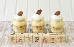 I Love the idea of putting maybe banana pudding in baby food jars and using baby blocks as lables!   baby shower parfaits in baby food jars