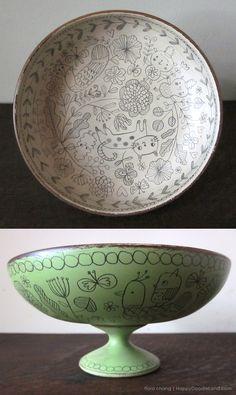 Doodle bowls. Great idea to reuse vintage found wooden pieces.