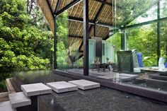 balinese outdoor rooms photos | View of the Meditation Pavilion / Multi-Media Entertainment Space with ...