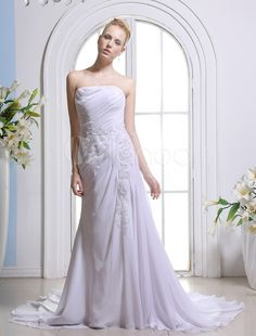 White A-line Strapless Beading Chiffon Bridal Wedding Gown