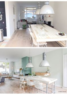 Huis inrichten woonkame makeover Haarlem ©BintiHome Casa Color Pastel, Dining Area, Dining Table, Cocina Shabby Chic, Dining Suites, Pastel House, Living Room Green, Living Room Inspiration, Decor Interior Design