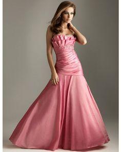 A-line Strapless Floor-length Sleeveless Elastic Woven Satin Prom Dresses / Evening Dresses (SZ008066)