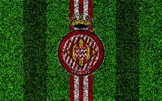 Download wallpapers Girona FC, 4k, logo, football lawn, Spanish football club, red white lines, grass texture, emblem, La Liga, Girona, Spain, football