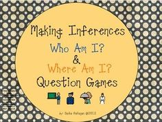 Two games for working on making inferences. Who am I? and Where am I? The 'Who am I?' game is based on community helpers. The 'Where am I?' game uses common locations. Each game has 24 cards, a score card, direction card, and labels. by theautismhelper.com