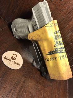 Items similar to Glock 19 Glock 17 Glock 23 GLock 22 Kydex Custom Holster Don't Tread On Me Glock 19 Gun IWB Gadsden Flag by Burly Man Tactical on Etsy Ccw Holsters, Custom Holsters, Glock 19 Gen 4, Gadsden Flag, Dont Tread On Me, Kydex, Blue Life, Tactical Gear, Hand Guns