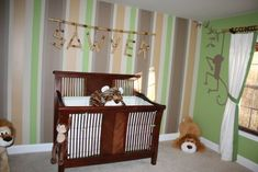 stripe paint designs nursery | The murals were loosely based on the Lambs and Ivy Cocoa Baby line. I ...