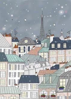 Paris Poster for Kids, Paris Art Print, Eiffel Tower by Amélie Biggs