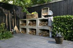 tuin | zo wil ik mijn houtopslag, van u-elementen van beton! Ook voor binnen een optie. Door bolkoon