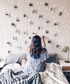 49 Easy and Cute Teen Room Decor Ideas for Girl - wohnideen wohnzimmer - Dorm Room My New Room, My Room, Dorm Room, Cute Room Decor, Picture Room Decor, Light Picture Wall, Photo Wall Decor, Picture Walls, Home Decor Ideas
