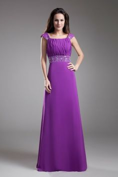 Chiffon Square Floor Length A-line Embroidered Prom Dress - WooVow