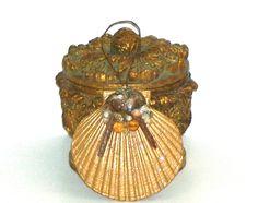 Gold Sea Shell Ornament Christmas Ornament Home Decor Christmas Decor by DollmakerNic on Etsy