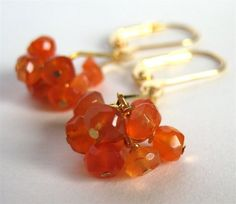 Gold Earrings Orange Earrings Carnelian Handmade Orange by Tissage, $24.00