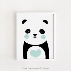 Mint heart Panda Poster bebe INSTANT DOWNLOAD Cute Printable art Heart Panda Bear animal poster baby room art print nursery art 8x10