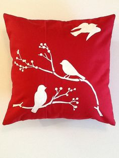 Phoebe HandPainted Throw Pillow CoverRed by AmericanWildflower, $14.00
