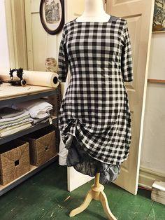 gingham jersey dress