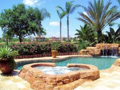 Pool Overlooking the Jack Nicklaus 10th Fairway with Spa, Waterfall