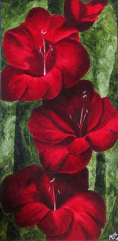 Melissa Sherowski... Red Gladiolus Flower Original Painting in red scarlet crimson green on 8x16 inch canvas. S)