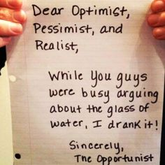 """That's one way to settle the whole """"half empty/ half full glass"""" matter."""