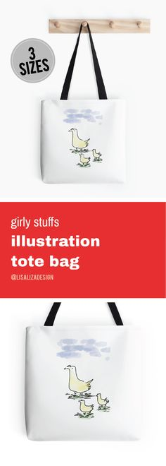Mother And Baby Ducks Doodle  Girly stuffs Daily Lifestyle Illustration Tote Bag  Great gift ideas for women  (Also available in mugs, cups, shirts, duvet covers, acrylic block, purse,   wallet, iphone cases, baby onsies, clocks, Throw pillows, samsung cases   and pencil skirts.)  #Doodle #Illustration #Teens #WomenFashion #Giftideas #Present   #Grandma #Mom #Pouches #DrawstringBags #Holiday   #Holidaygifts #Lisaliza  #Womenfashion   #Teepublic #Redbubble #Bestfriend