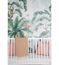Lush and full of life, this jungle wallpaper will inspire the decor for your entire space. Perfect for a nursery needing a little imagination or an entry way needing a touch of whimsy, we love this playful, yet sophisticated mural.