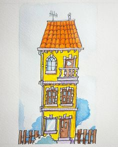 City house -  #ShutTheFuckUpItsArt #TaYeuleCestDeLart #artwork #Fun #Smile #Igers #Artist #Art #watercolor #chinaink #drawing #Doodle #Painting #cartoon #igart #Igmontreal #illustration #Ink #sketch #Sketching #doodling #montreal #Canada by crapules