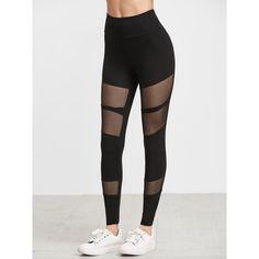 SheIn(sheinside) Black Fishnet Insert Leggings (£11) ❤ liked on Polyvore featuring pants, leggings, stretch leggings, fishnet leggings, stretch pants, legging pants and fishnet pants