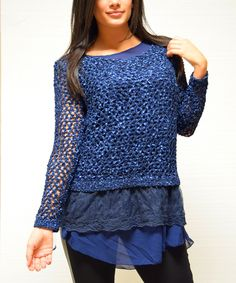 Simply Couture Blue Open-Knit Wool-Blend Tunic - Women | zulily