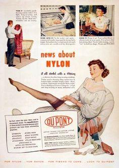 1940s Stockings: Hosiery, Nylons, and Socks History. 1948 DePont Nylon ad #190sfashion
