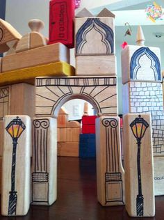 Architectural Building Blocks: Take some plain but wonderful wood blocks and add architectural details with permanent markers. The kids joined me in adding decoration and it has brought new play value to our worn out blocks! Diy For Kids, Crafts For Kids, Diy Cadeau Noel, Wood Crafts, Diy Crafts, Block Area, Wooden Blocks, Wood Toys, Diy Toys