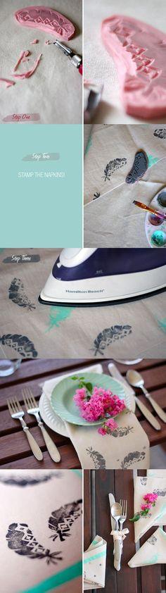 Instrucciones para estampar servilletas de tela / http://greenweddingshoes.com/