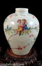 Antique Bohemian Victorian Floral Hand Painted Enamel Art Glass Vase w/ Children