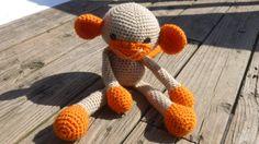Crochet Monkey  Stuffed animal  Orange & by CarolynLouiseCrochet