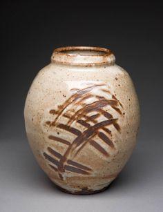 Artist: Warren MacKenzie, Title: Shino Vase w/ finger wipes & carbon trap - click for larger image