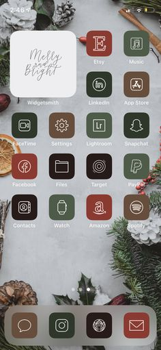 Iphone Home Screen Layout, Iphone App Layout, Iphone App Design, Christmas Apps, Christmas Icons, Cozy Christmas, Xmas, Organize Phone Apps, App Background