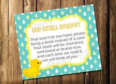 Printable Rubber Ducky Baby Shower Book Request Cards - Instant Download
