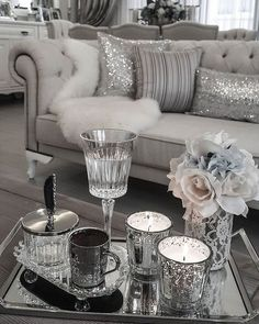 fux, glam, candles, living room, flowers, tray, wine,water, fur, living room, bedroom, sitting area #Livingroomareafurniture