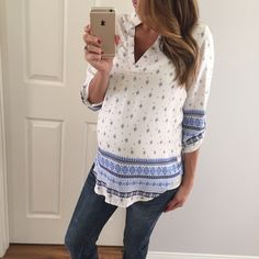 """SOLD OUT • Blue & White Boho Top • Item Information: What a fun top! Beautiful and classy looking. 100% polyester. Medium: 30"""" long • 18"""" across the chest. Rounded bottom, button back sleeves, structured v-neck with a pressed looked collar. I only have 1 of each size.   • Size I'm modeling: Small   • Sizes available: Large   {{ Please do not purchase this listing, I will create you a new listing to purchase }} Thank you! Xo. Tops Tees - Short Sleeve"""