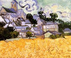 "Vincent van Gogh, ""View of Auvers with Field, Houses and Church"", 34 x 42 cm, June 1890.  Museum of Art, Providence (Rhode Island), USA."