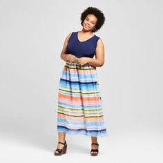 Sami & Dani Women's Plus Size Watercolor Striped Maxi Dress - Blue
