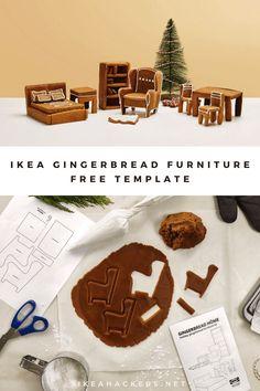 IKEA gingerbread furniture is too cute. Free download. Halloween Gingerbread House, Gingerbread Dough, Gingerbread Cookies, Ikea Christmas, Christmas Holidays, Holiday Ideas, Christmas Ideas, Arts And Crafts