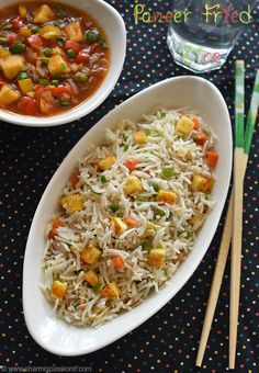 paneer fried rice recipe with step by step photos.paneer fried rice with mixed vegetables.paneer fried rice is a easy fried rice recipe. Paneer Fry Recipe, Easy Paneer Recipes, Easy Rice Recipes, Biryani Recipe, Veg Recipes, Indian Food Recipes, Vegetarian Recipes, Cooking Recipes, Poha Recipe