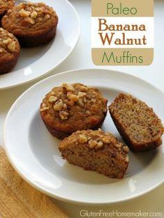 Banana Walnut Coconut Flour Muffins (Paleo) at GlutenFreeHomemaker.com