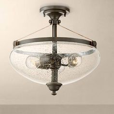 """Hartfield 16"""" High Oil Rubbed Bronze Ceiling Light - #13F90 