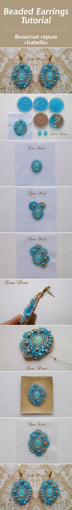 "Мастер-класс: вышитые серьги ""Isabella"" #diy #tutorial #craft #handmade #beadwork"