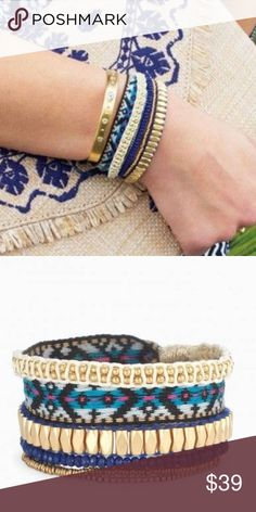 Vista Wrap Bracelet The perfect arm party all in one bracelet! Vintage gold beads mixed with woven patterned tape and accents of blue form this newest trend in wrap bracelets. Stella & Dot Jewelry Bracelets